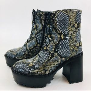 FREE PEOPLE Gray Snakeskin Print Chunky Boots